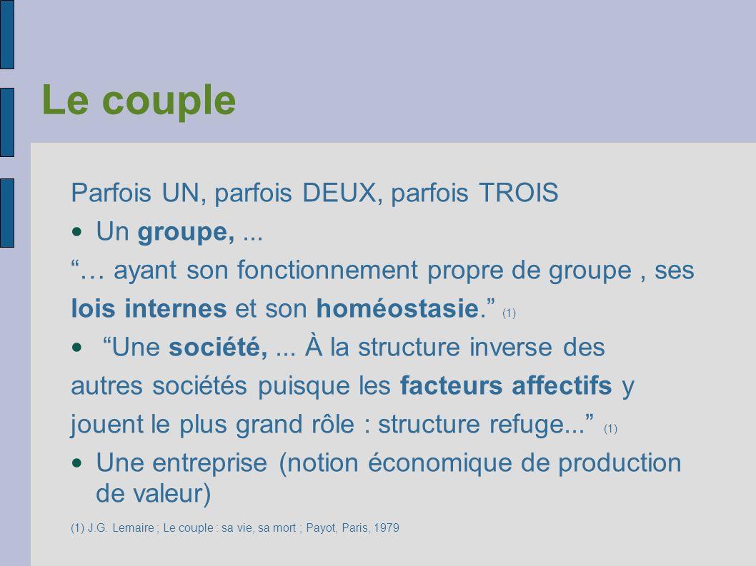 Le couple Parfois UN, parfois DEUX, parfois TROIS Un groupe,... … ayant son fonctionnement propre de groupe, ses lois internes et son homéostasie. (1)