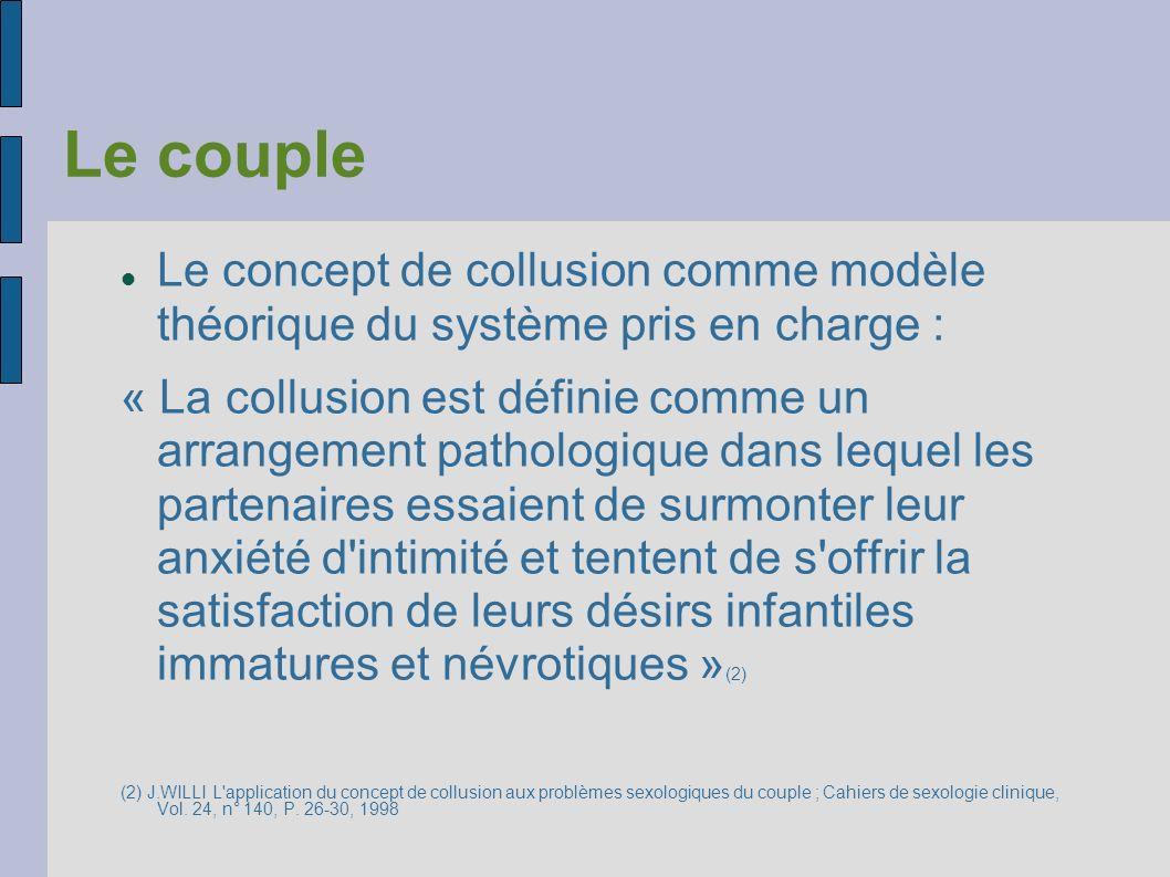 Le couple Le concept de collusion comme modèle théorique du système pris en charge : « La collusion est définie comme un arrangement pathologique dans