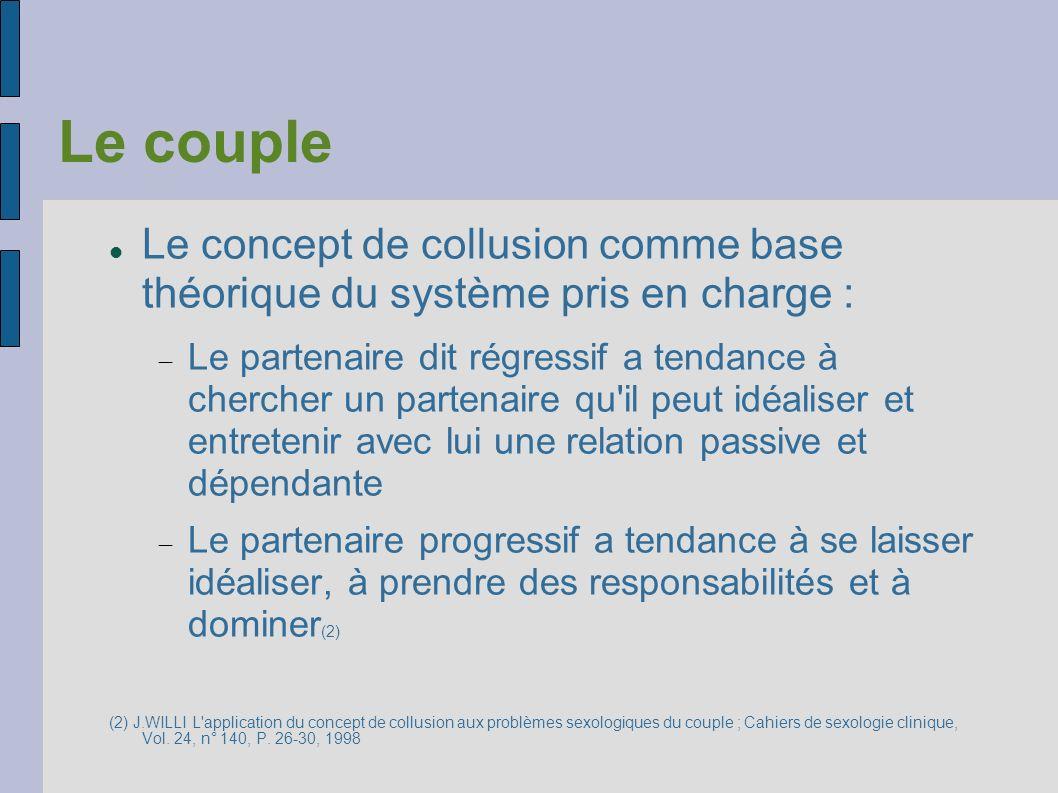 Le couple Le concept de collusion comme base théorique du système pris en charge : Le partenaire dit régressif a tendance à chercher un partenaire qu'