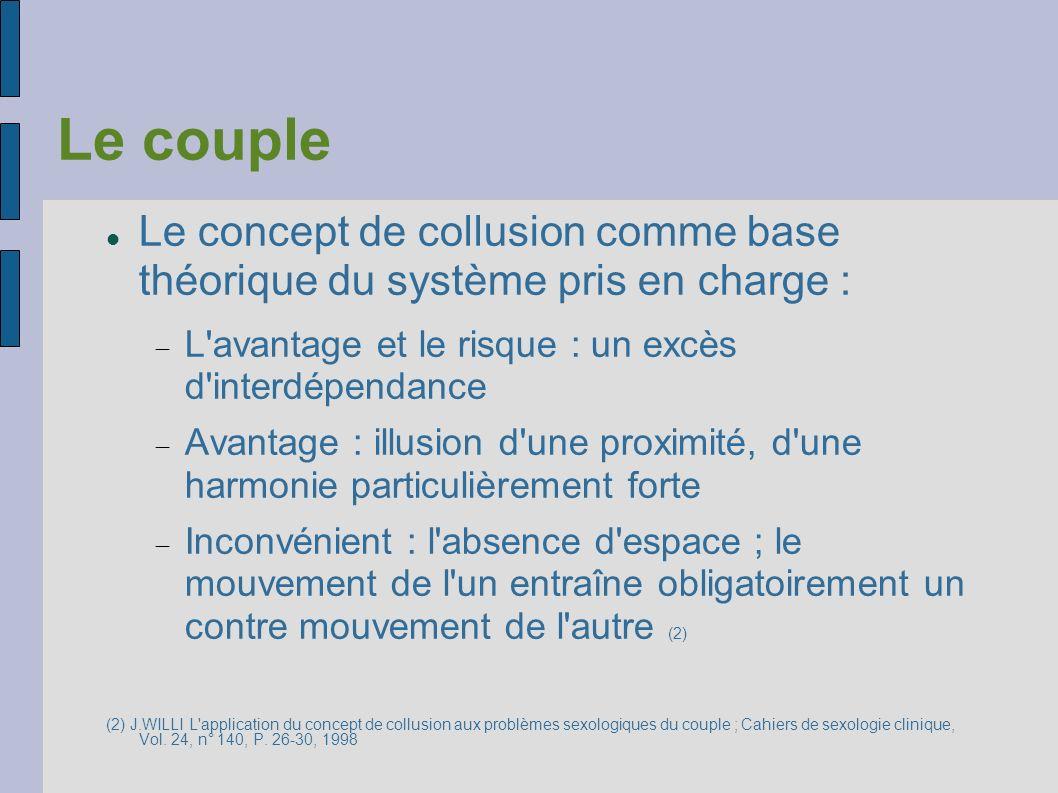 Le couple Le concept de collusion comme base théorique du système pris en charge : L'avantage et le risque : un excès d'interdépendance Avantage : ill