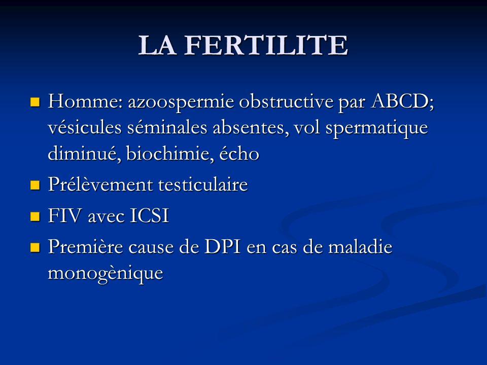 LA FERTILITE Homme: azoospermie obstructive par ABCD; vésicules séminales absentes, vol spermatique diminué, biochimie, écho Homme: azoospermie obstru