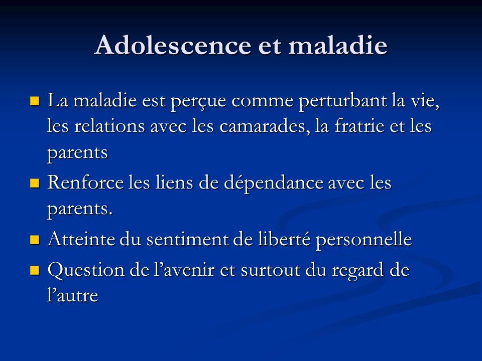Adolescence et maladie La maladie est perçue comme perturbant la vie, les relations avec les camarades, la fratrie et les parents La maladie est perçu