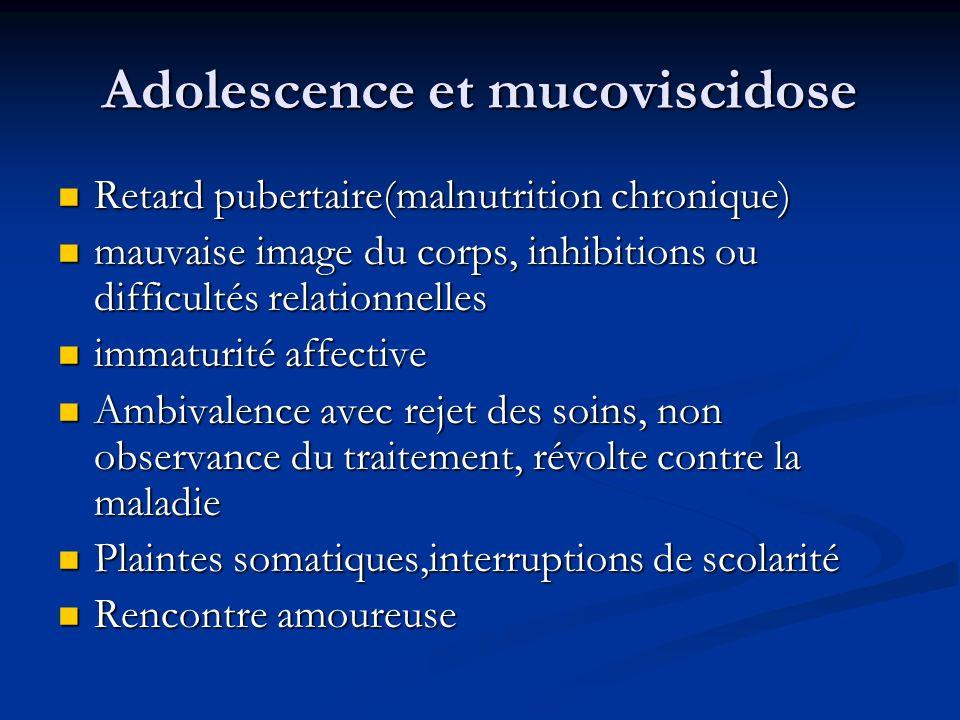 Adolescence et mucoviscidose Retard pubertaire(malnutrition chronique) Retard pubertaire(malnutrition chronique) mauvaise image du corps, inhibitions