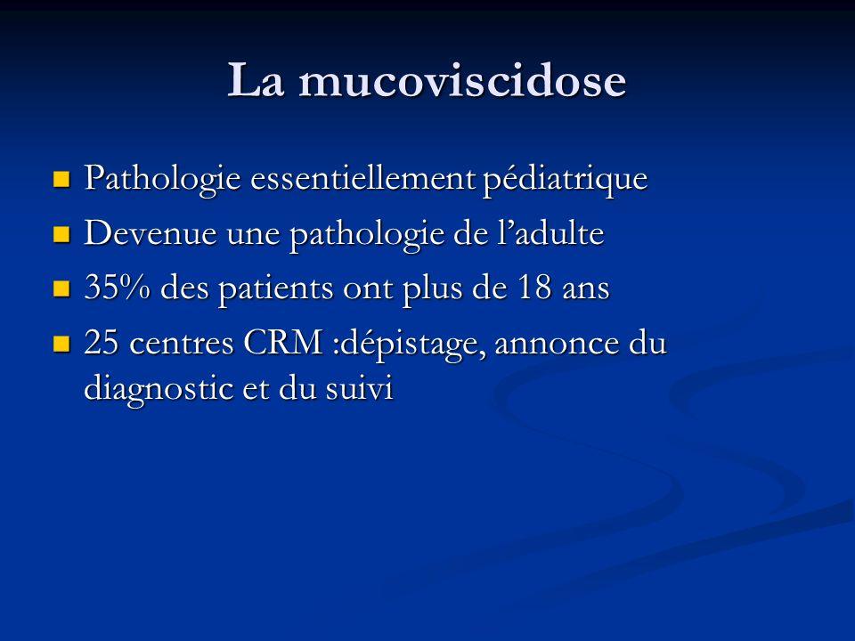 La mucoviscidose Maladie héréditaire autosomique récessive multi viscérale Maladie héréditaire autosomique récessive multi viscérale Liée à des mutations du gène du CFTR Liée à des mutations du gène du CFTR La plus fréquente des maladies génétiques graves La plus fréquente des maladies génétiques graves Incidence: 1 sur 2500 naissances Incidence: 1 sur 2500 naissances Prévalence: 6000 cas en France, Prévalence: 6000 cas en France, 70000 cas dans le monde 70000 cas dans le monde