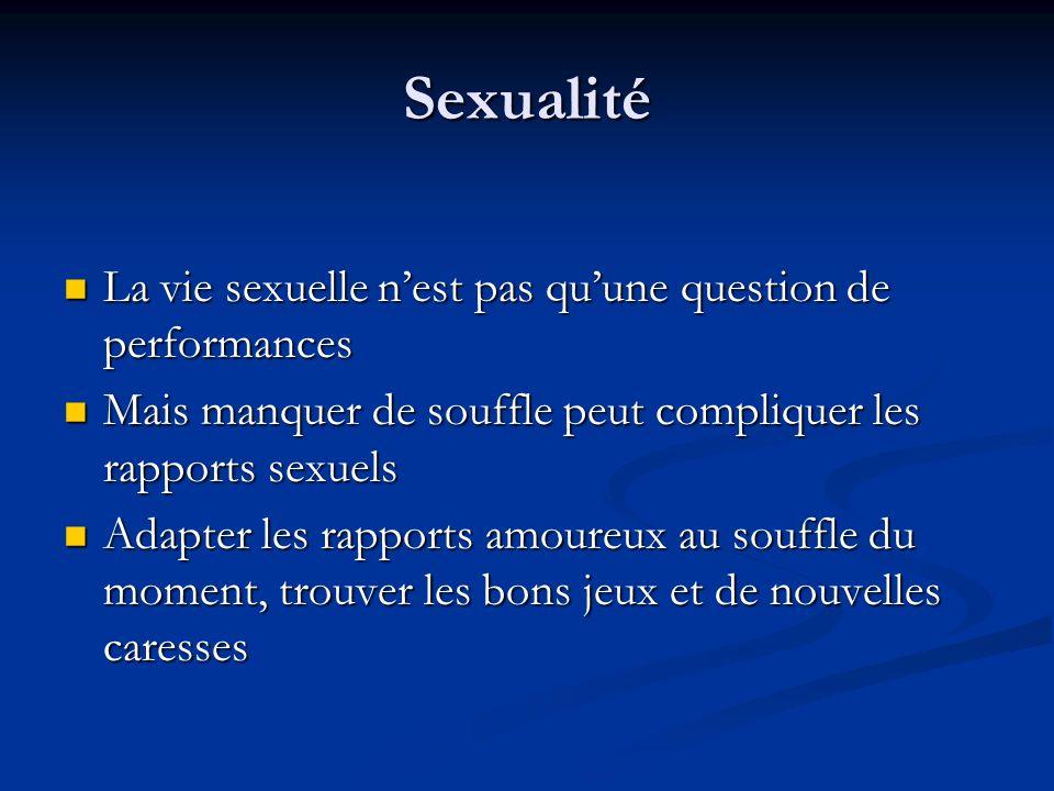 Sexualité La vie sexuelle nest pas quune question de performances La vie sexuelle nest pas quune question de performances Mais manquer de souffle peut