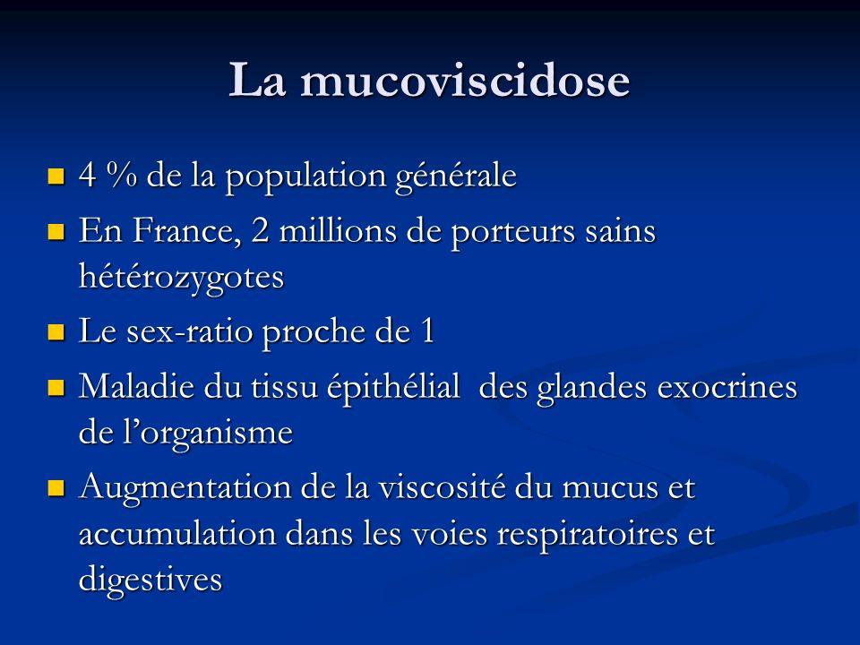 La mucoviscidose 4 % de la population générale 4 % de la population générale En France, 2 millions de porteurs sains hétérozygotes En France, 2 millio