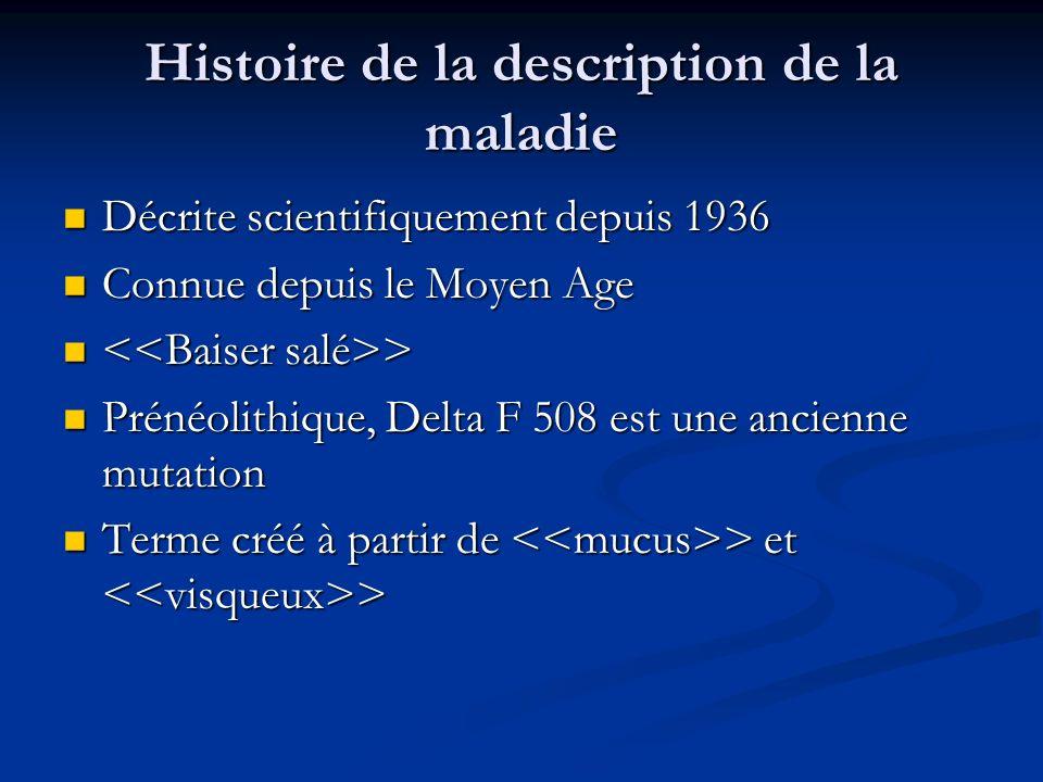 Histoire de la description de la maladie Décrite scientifiquement depuis 1936 Décrite scientifiquement depuis 1936 Connue depuis le Moyen Age Connue d