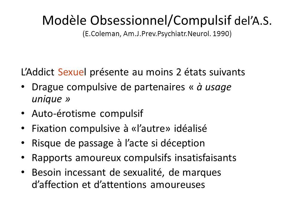 Modèle Obsessionnel/Compulsif delA.S. (E.Coleman, Am.J.Prev.Psychiatr.Neurol. 1990) LAddict Sexuel présente au moins 2 états suivants Drague compulsiv