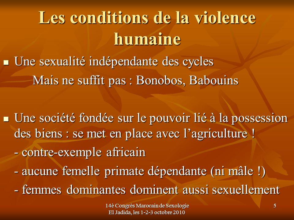 Les conditions de la violence humaine Une sexualité indépendante des cycles Une sexualité indépendante des cycles Mais ne suffit pas : Bonobos, Baboui