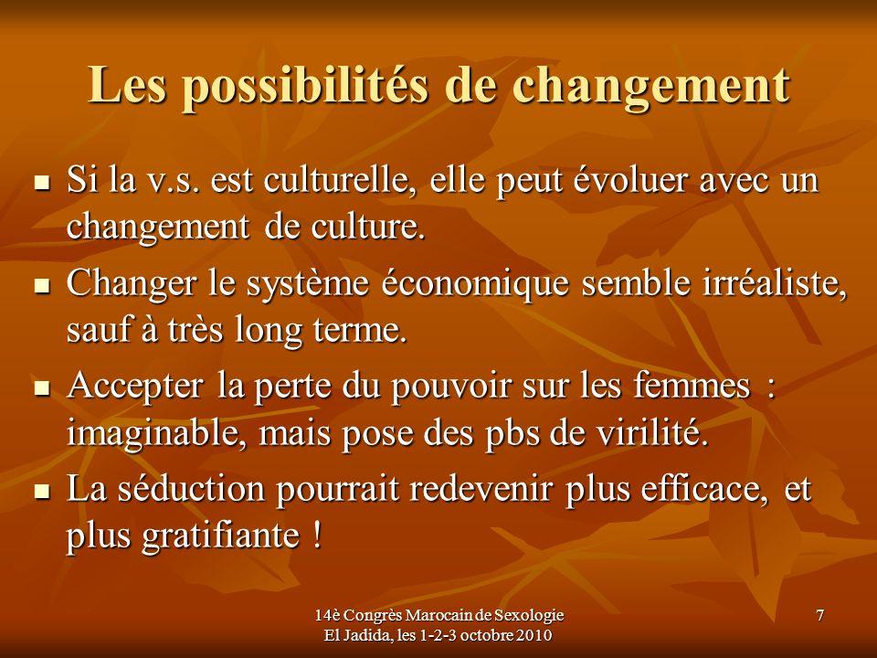 Les possibilités de changement Si la v.s. est culturelle, elle peut évoluer avec un changement de culture. Si la v.s. est culturelle, elle peut évolue