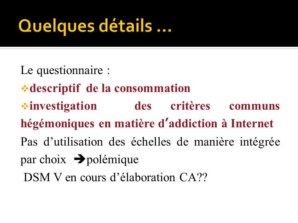 Le questionnaire : descriptif de la consommation investigation des critères communs hégémoniques en matière daddiction à Internet Pas dutilisation des