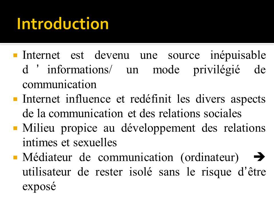 Internet est devenu une source inépuisable dinformations/ un mode privilégié de communication Internet influence et redéfinit les divers aspects de la