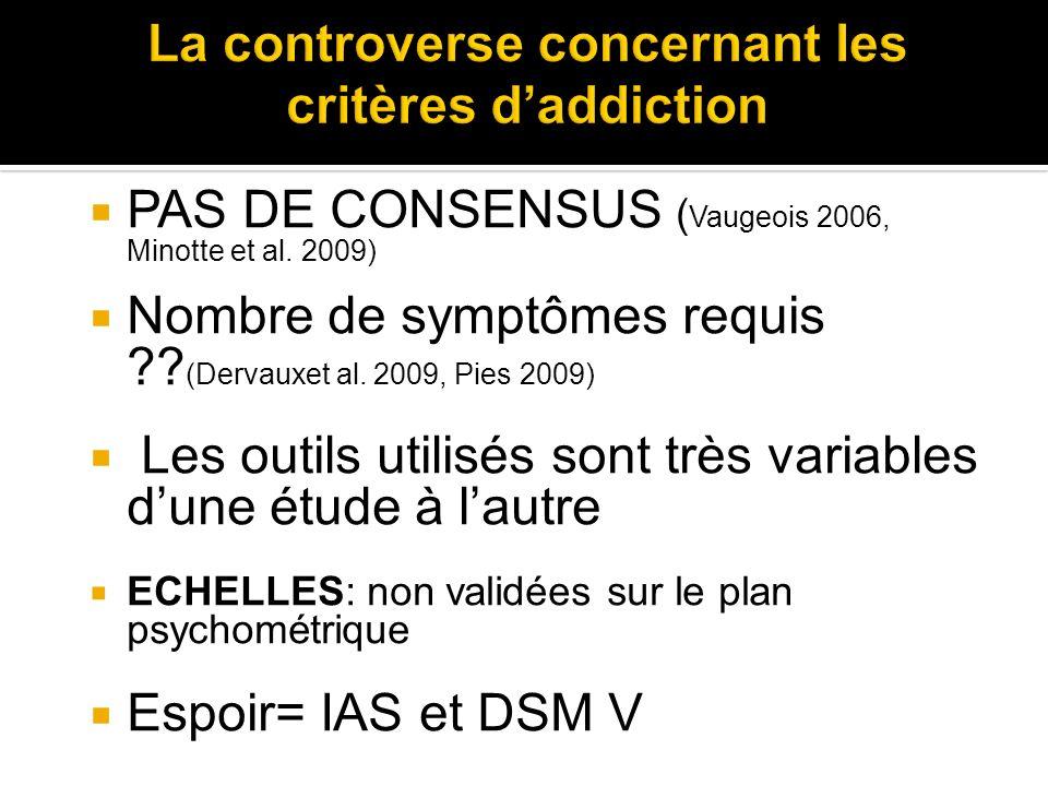 PAS DE CONSENSUS ( Vaugeois 2006, Minotte et al. 2009) Nombre de symptômes requis ?? (Dervauxet al. 2009, Pies 2009) Les outils utilisés sont très var