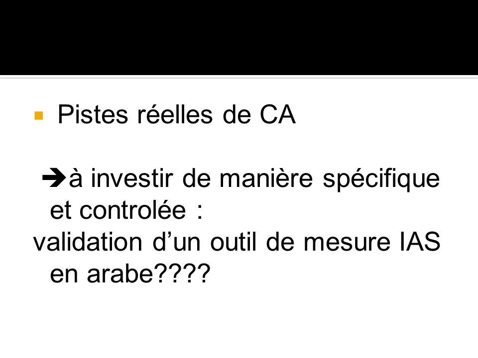 Pistes réelles de CA à investir de manière spécifique et controlée : validation dun outil de mesure IAS en arabe????