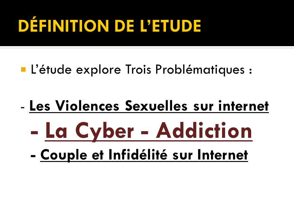 Létude explore Trois Problématiques : - Les Violences Sexuelles sur internet - La Cyber - Addiction - Couple et Infidélité sur Internet