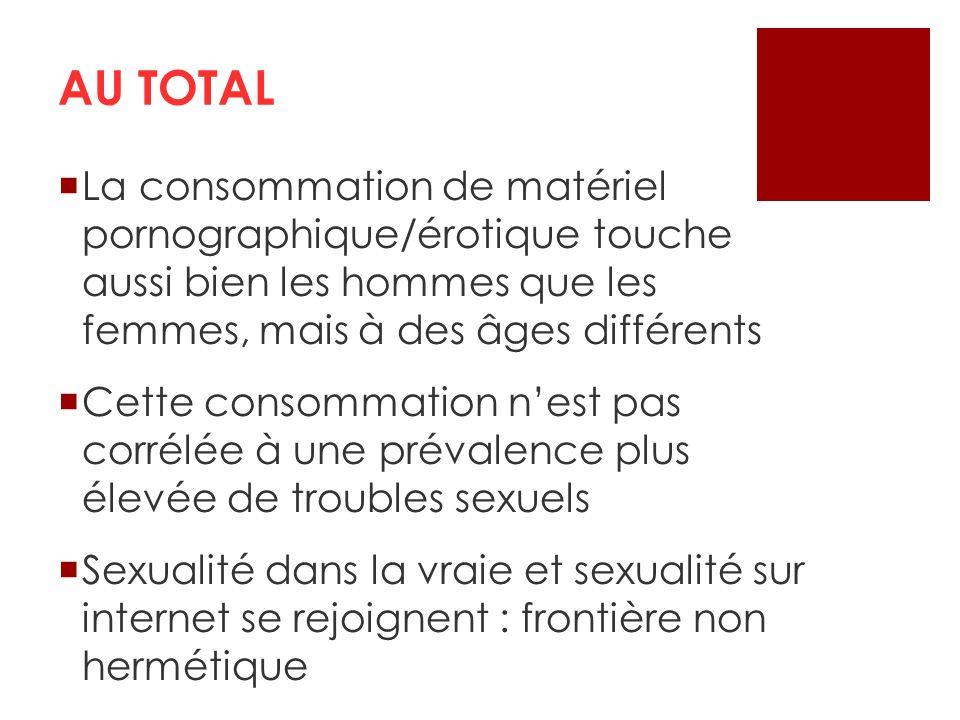 AU TOTAL La consommation de matériel pornographique/érotique touche aussi bien les hommes que les femmes, mais à des âges différents Cette consommatio