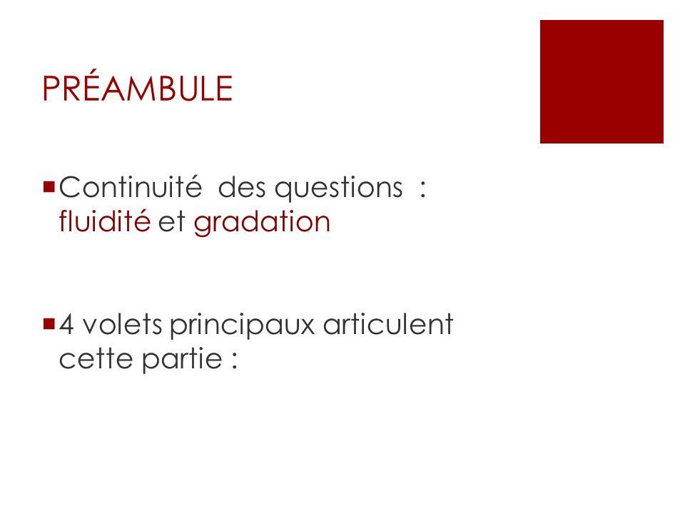 PRÉAMBULE Continuité des questions : fluidité et gradation 4 volets principaux articulent cette partie :