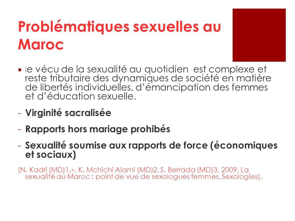 Problématiques sexuelles au Maroc l e vécu de la sexualité au quotidien est complexe et reste tributaire des dynamiques de société en matière de liber