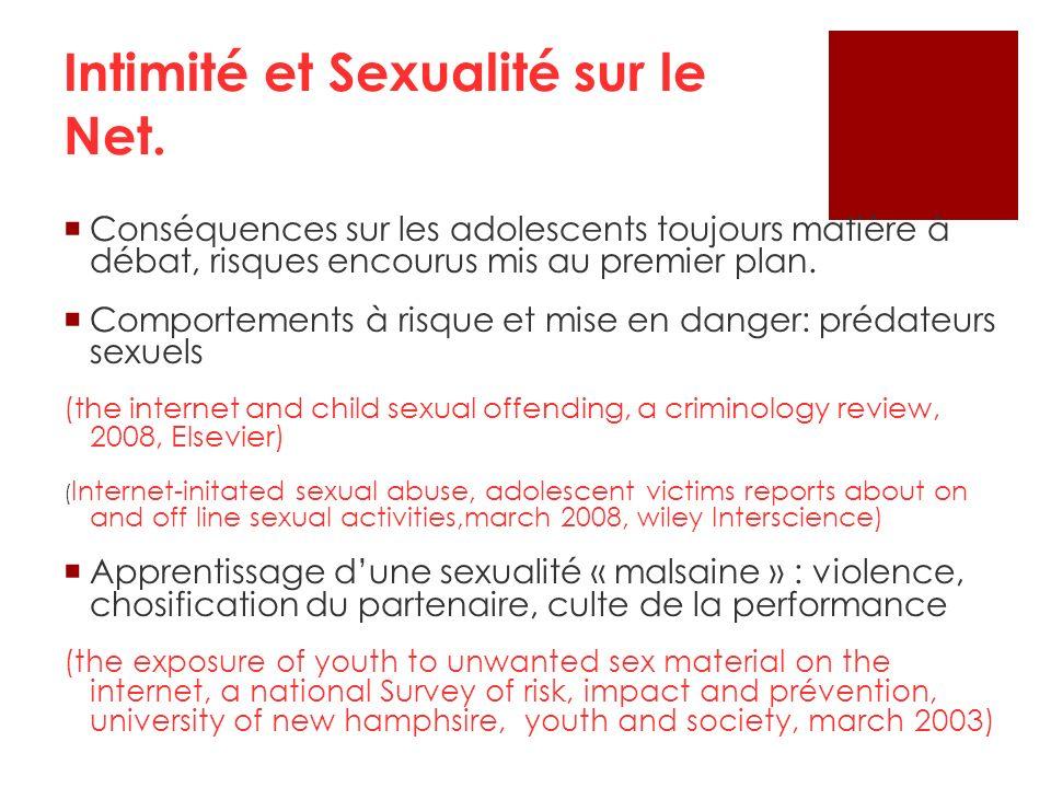 Intimité et Sexualité sur le Net. Conséquences sur les adolescents toujours matière à débat, risques encourus mis au premier plan. Comportements à ris