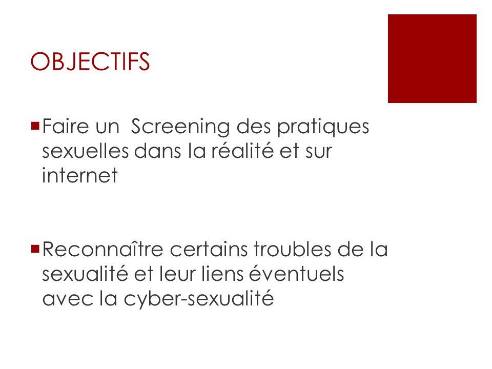 OBJECTIFS Faire un Screening des pratiques sexuelles dans la réalité et sur internet Reconnaître certains troubles de la sexualité et leur liens évent