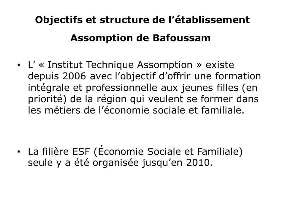 Objectifs et structure de létablissement Assomption de Bafoussam L « Institut Technique Assomption » existe depuis 2006 avec lobjectif doffrir une for
