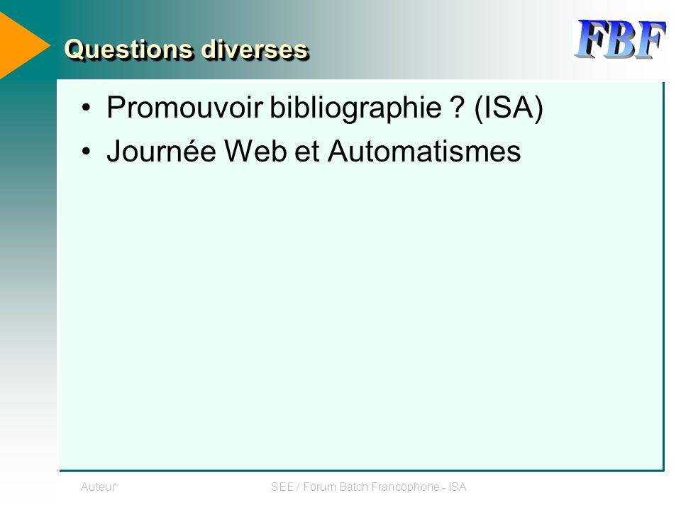 AuteurSEE / Forum Batch Francophone - ISA Questions diverses Promouvoir bibliographie .