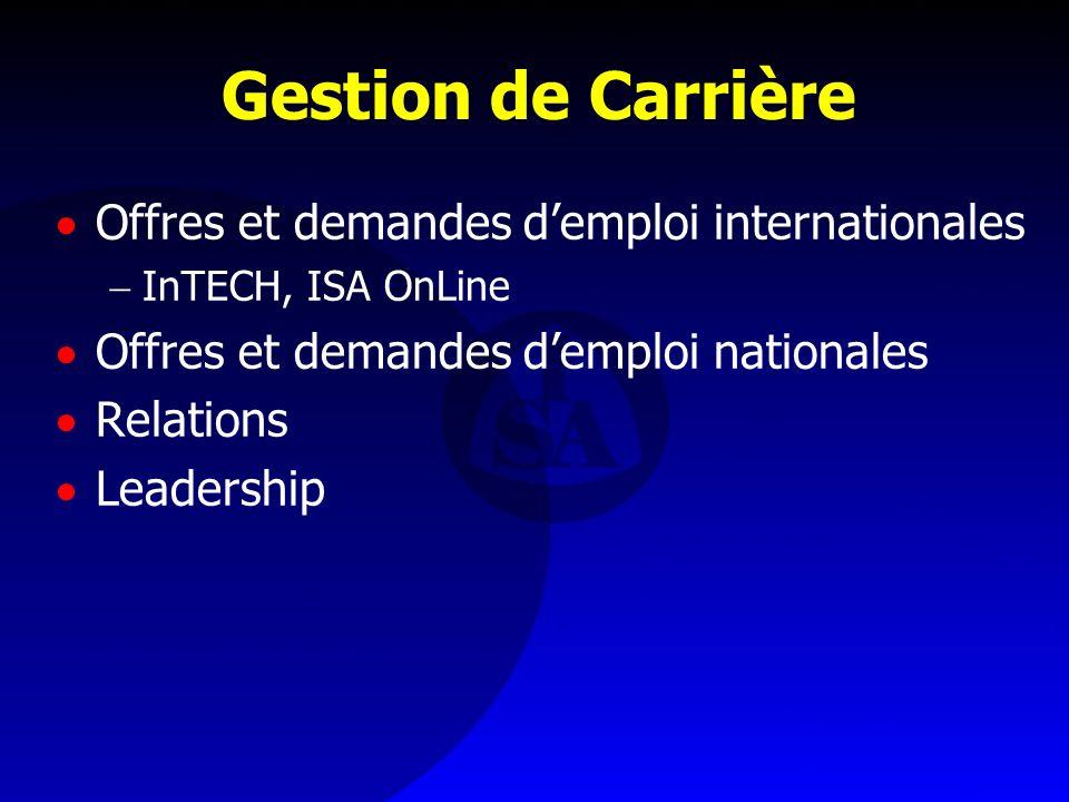Gestion de Carrière Offres et demandes demploi internationales InTECH, ISA OnLine Offres et demandes demploi nationales Relations Leadership