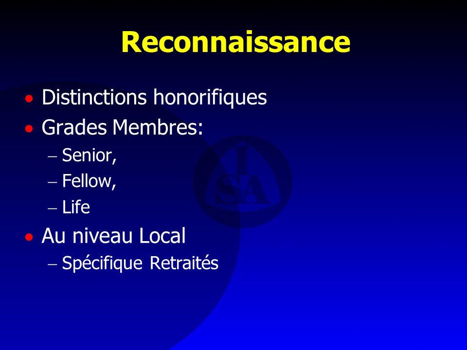 Reconnaissance Distinctions honorifiques Grades Membres: Senior, Fellow, Life Au niveau Local Spécifique Retraités