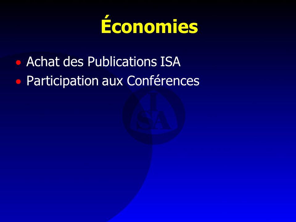 Économies Achat des Publications ISA Participation aux Conférences