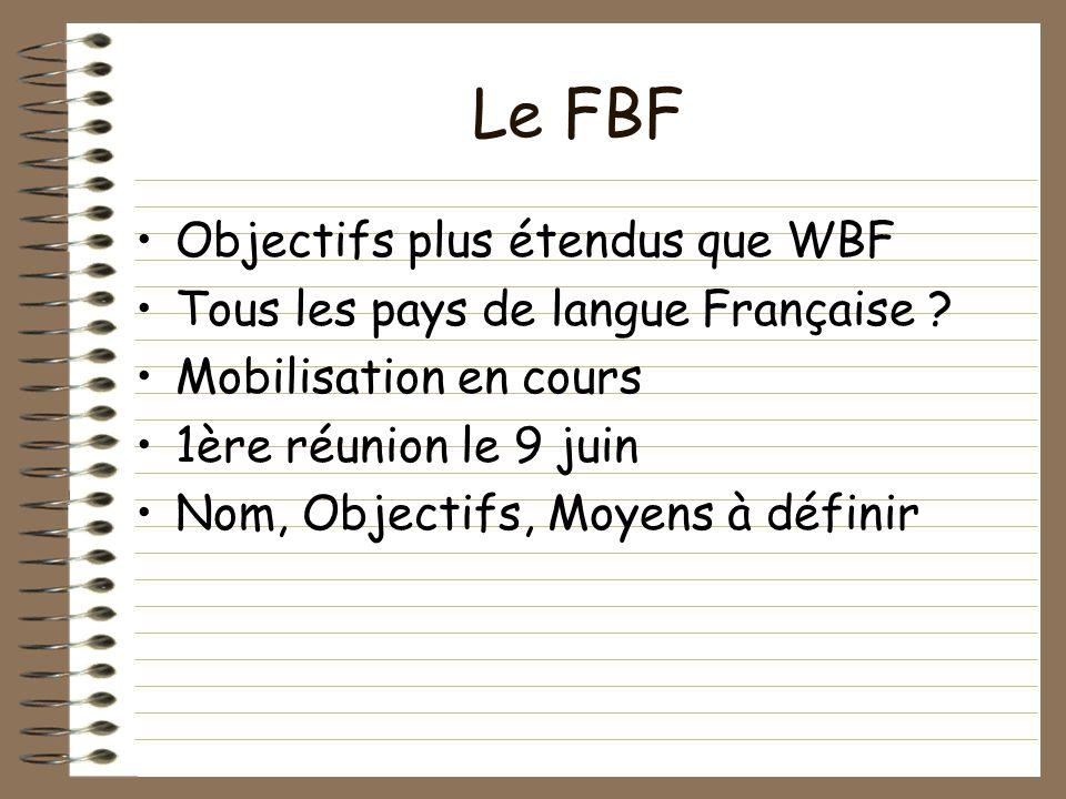Le FBF Objectifs plus étendus que WBF Tous les pays de langue Française .