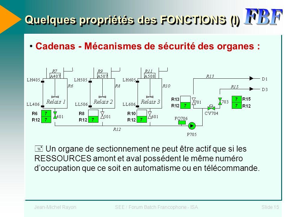 Jean-Michel RayonSEE / Forum Batch Francophone - ISASlide 15 Quelques propriétés des FONCTIONS (I) Cadenas - Mécanismes de sécurité des organes : Un o