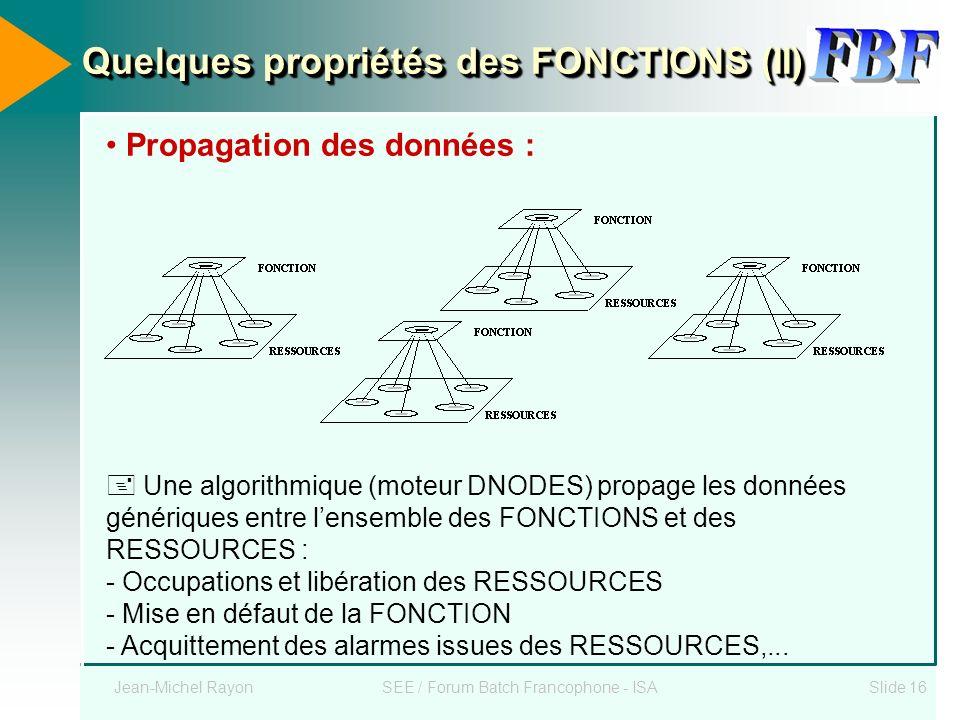 Jean-Michel RayonSEE / Forum Batch Francophone - ISASlide 16 Quelques propriétés des FONCTIONS (II) Propagation des données : Une algorithmique (moteu