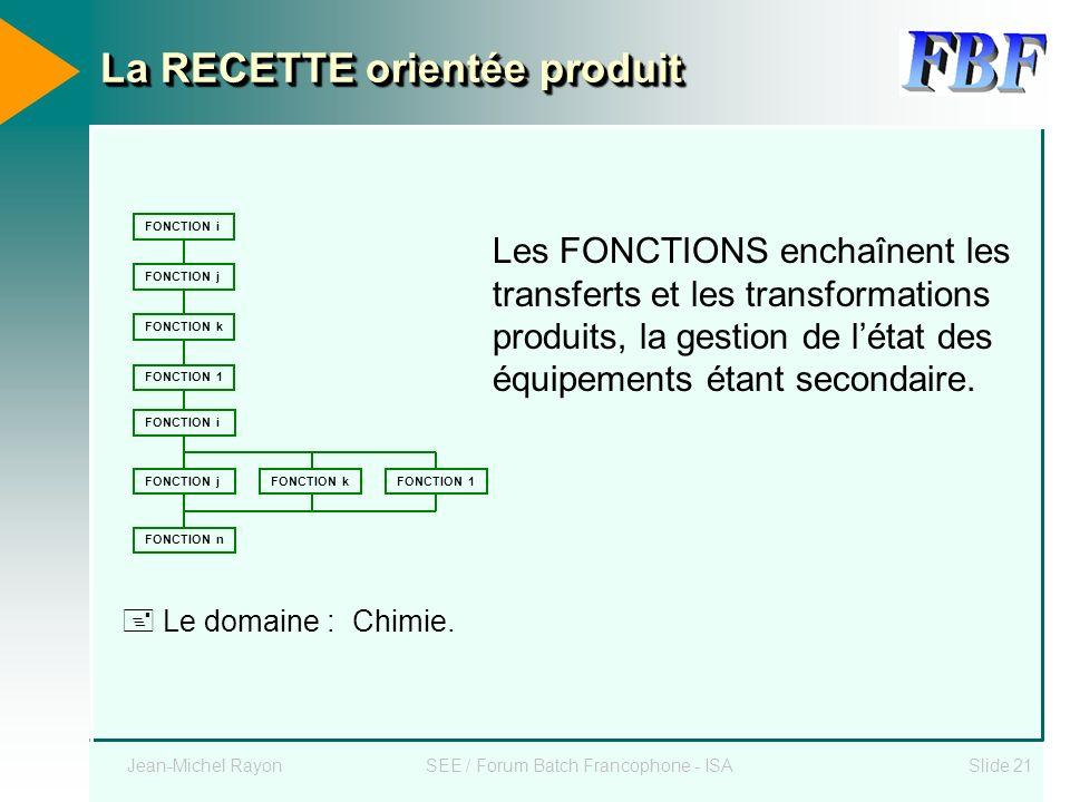 Jean-Michel RayonSEE / Forum Batch Francophone - ISASlide 21 La RECETTE orientée produit FONCTION i FONCTION j FONCTION k FONCTION 1 FONCTION i FONCTI