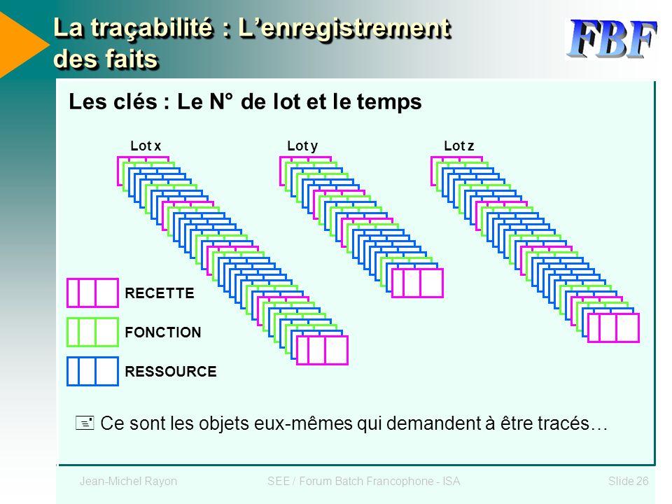 Jean-Michel RayonSEE / Forum Batch Francophone - ISASlide 26 La traçabilité : Lenregistrement des faits Les clés : Le N° de lot et le temps RECETTE FO