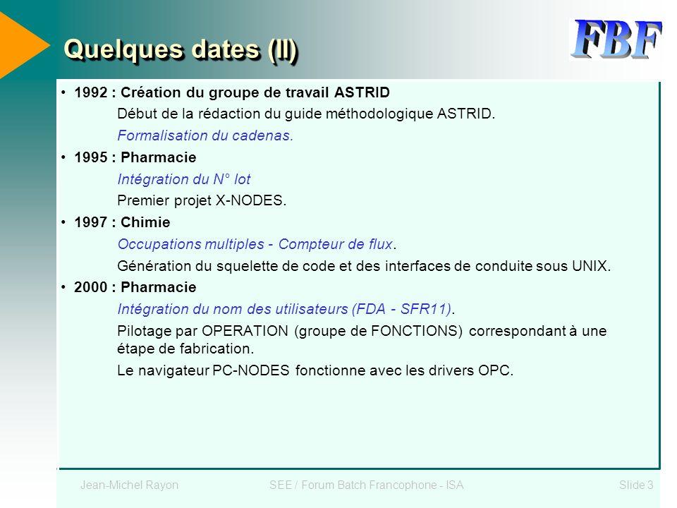 Jean-Michel RayonSEE / Forum Batch Francophone - ISASlide 3 Quelques dates (II) 1992 : Création du groupe de travail ASTRID Début de la rédaction du g