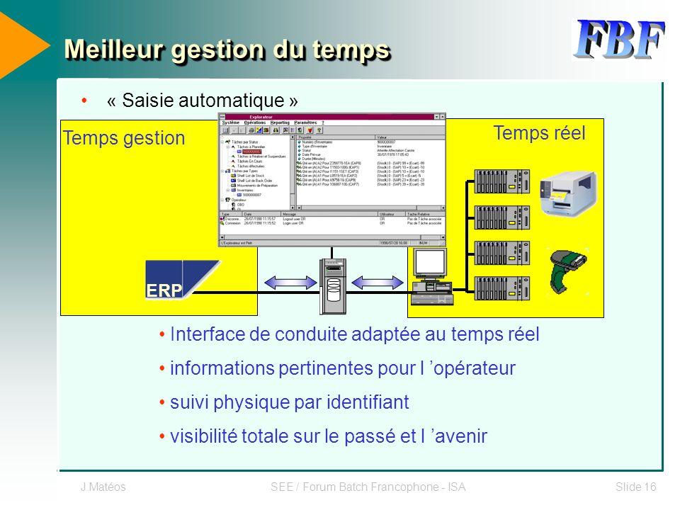 J.MatéosSEE / Forum Batch Francophone - ISASlide 16 « Saisie automatique » ERP Temps réel Temps gestion Interface de conduite adaptée au temps réel in