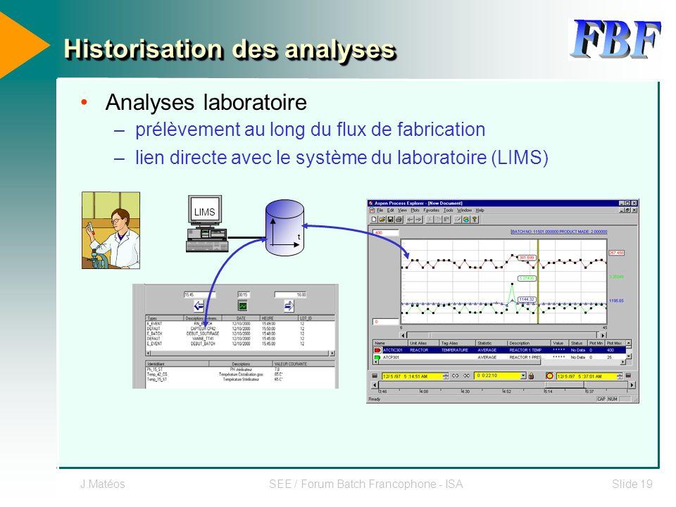 J.MatéosSEE / Forum Batch Francophone - ISASlide 19 Analyses laboratoire –prélèvement au long du flux de fabrication –lien directe avec le système du
