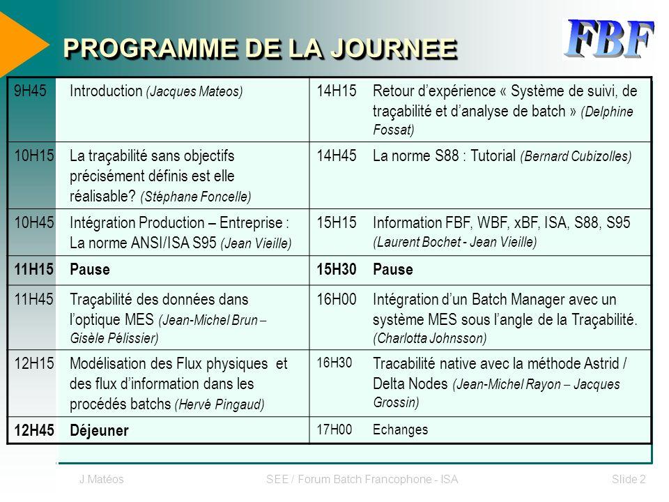 J.MatéosSEE / Forum Batch Francophone - ISASlide 2 PROGRAMME DE LA JOURNEE 9H45Introduction (Jacques Mateos) 14H15Retour dexpérience « Système de suiv