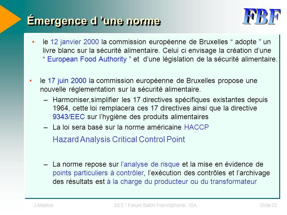 J.MatéosSEE / Forum Batch Francophone - ISASlide 22 Émergence d une norme le 12 janvier 2000 la commission européenne de Bruxelles adopte un livre bla