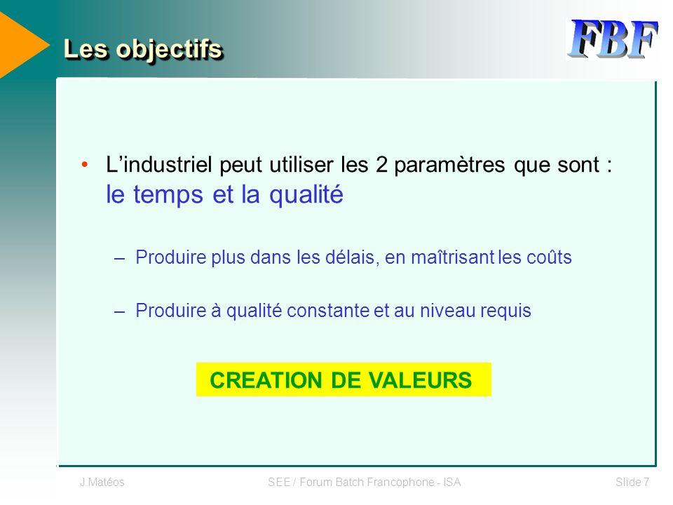 J.MatéosSEE / Forum Batch Francophone - ISASlide 7 Les objectifs Lindustriel peut utiliser les 2 paramètres que sont : le temps et la qualité –Produir