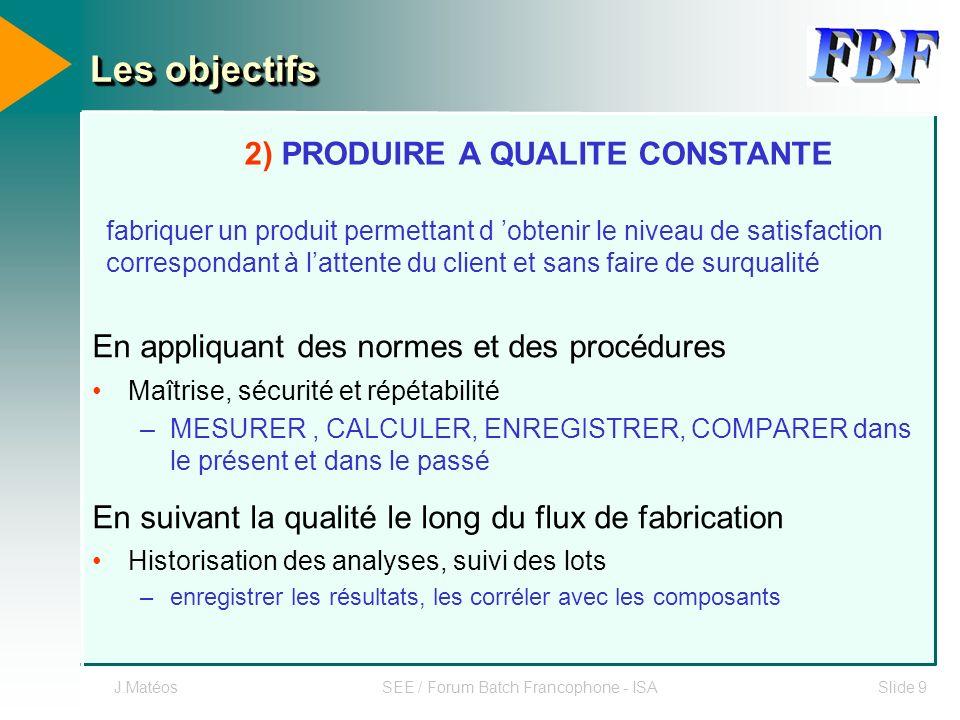 J.MatéosSEE / Forum Batch Francophone - ISASlide 9 En appliquant des normes et des procédures Maîtrise, sécurité et répétabilité –MESURER, CALCULER, E