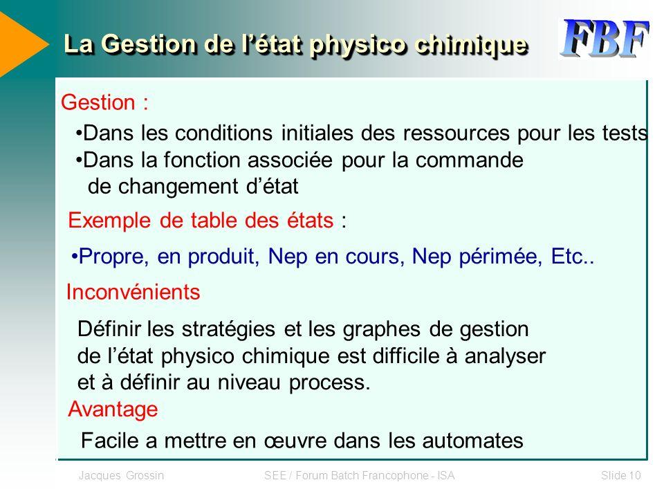 Jacques GrossinSEE / Forum Batch Francophone - ISASlide 10 Exemple de table des états : Propre, en produit, Nep en cours, Nep périmée, Etc.. Inconvéni