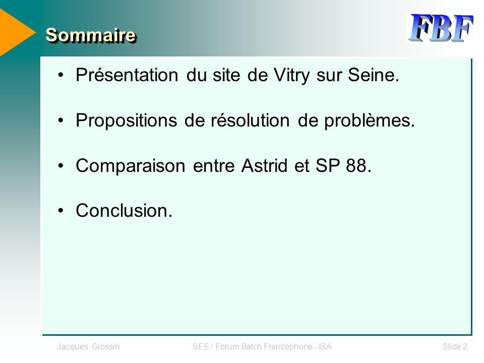 Jacques GrossinSEE / Forum Batch Francophone - ISASlide 3 Bilan des Entrées / Sorties SITE AUTOMATISE DEPUIS LES ANNEES 1980 SNCC 8200 E/S (SMS FOXBORO,FISHER PROVOX, MOD300 ABB) API 5400 E/S (Schneider (Quantum), Allen Bradley) TOTAL TOTAL 14 000 E/S ASTRID 6 Applications depuis 1988 ( API Modicon/Schneider) 25 % des applications process