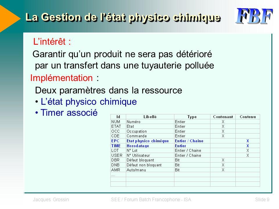 Jacques GrossinSEE / Forum Batch Francophone - ISASlide 10 Exemple de table des états : Propre, en produit, Nep en cours, Nep périmée, Etc..