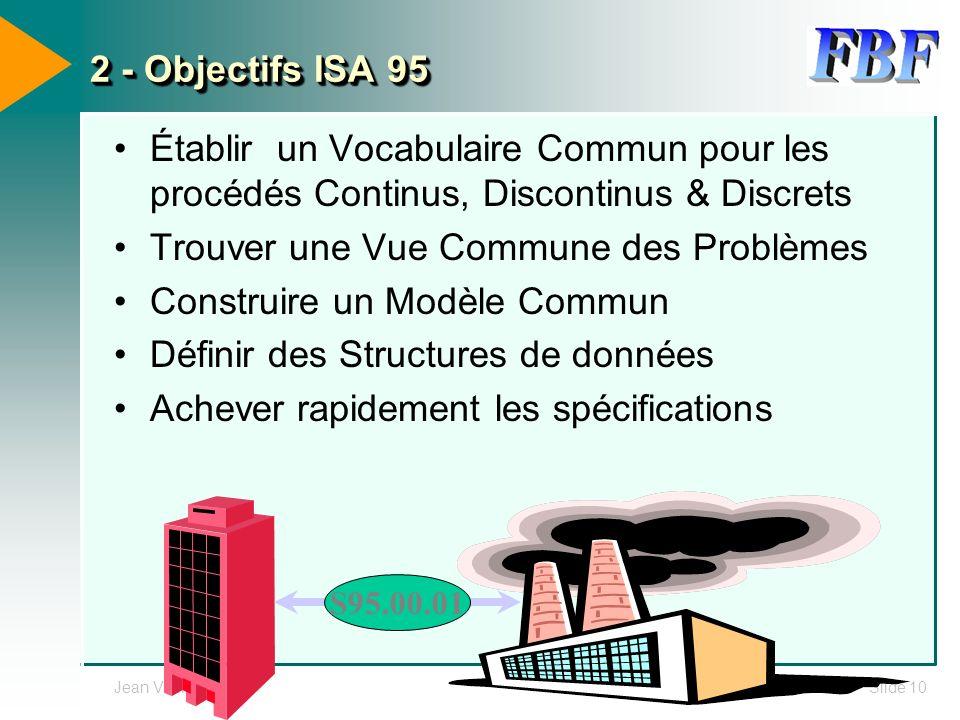 Jean VieilleSlide 10 2 - Objectifs ISA 95 Établir un Vocabulaire Commun pour les procédés Continus, Discontinus & Discrets Trouver une Vue Commune des