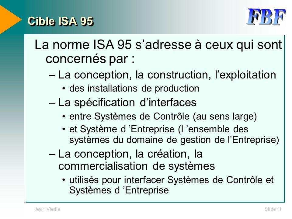 Jean VieilleSlide 11 Cible ISA 95 La norme ISA 95 sadresse à ceux qui sont concernés par : –La conception, la construction, lexploitation des installa