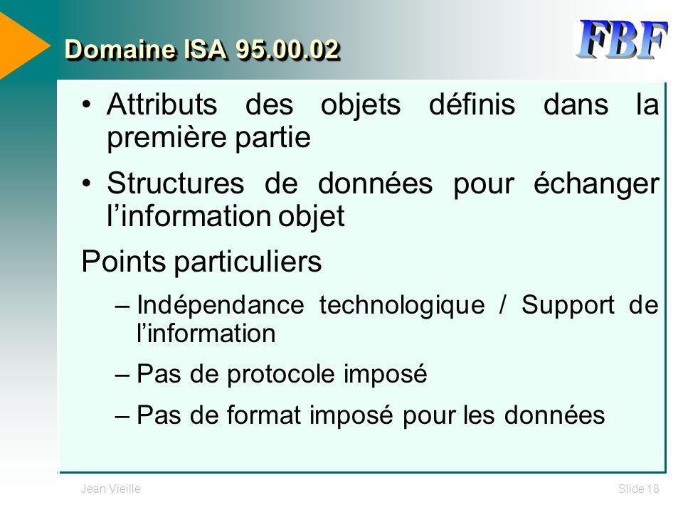 Jean VieilleSlide 18 Domaine ISA 95.00.02 Attributs des objets définis dans la première partie Structures de données pour échanger linformation objet