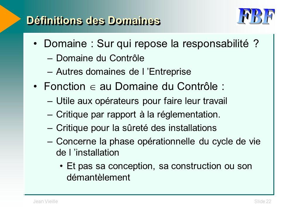 Jean VieilleSlide 22 Définitions des Domaines Domaine : Sur qui repose la responsabilité ? –Domaine du Contrôle –Autres domaines de l Entreprise Fonct