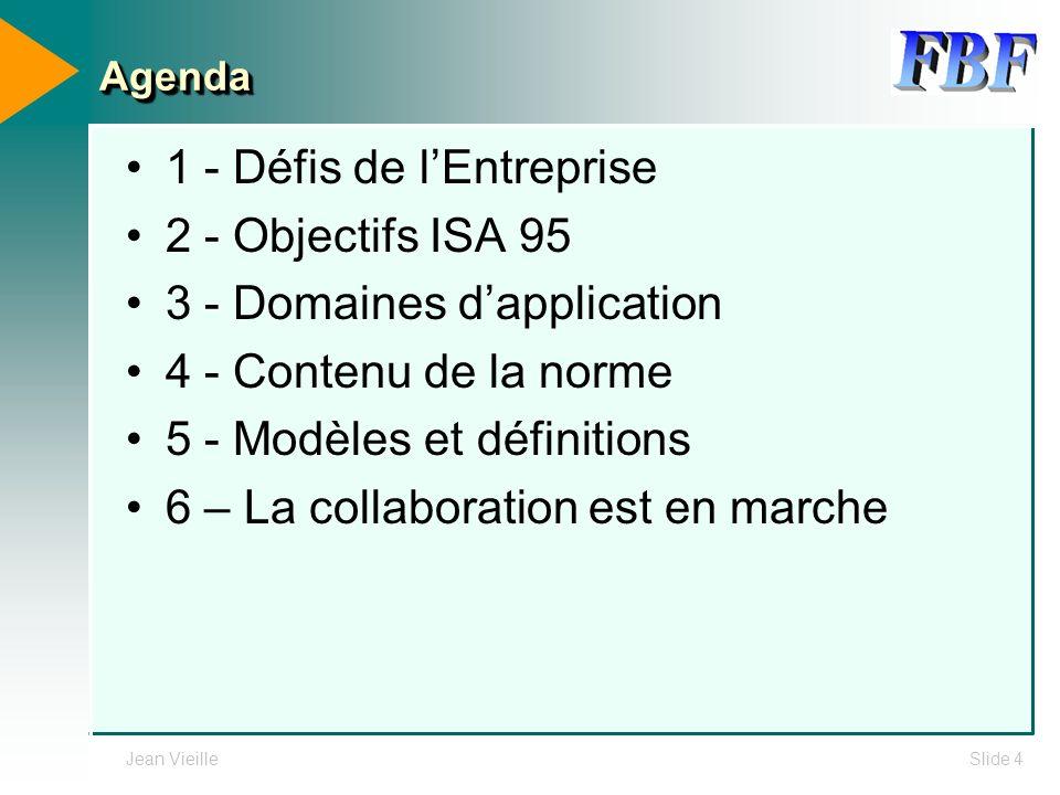 Jean VieilleSlide 4 AgendaAgenda 1 - Défis de lEntreprise 2 - Objectifs ISA 95 3 - Domaines dapplication 4 - Contenu de la norme 5 - Modèles et défini