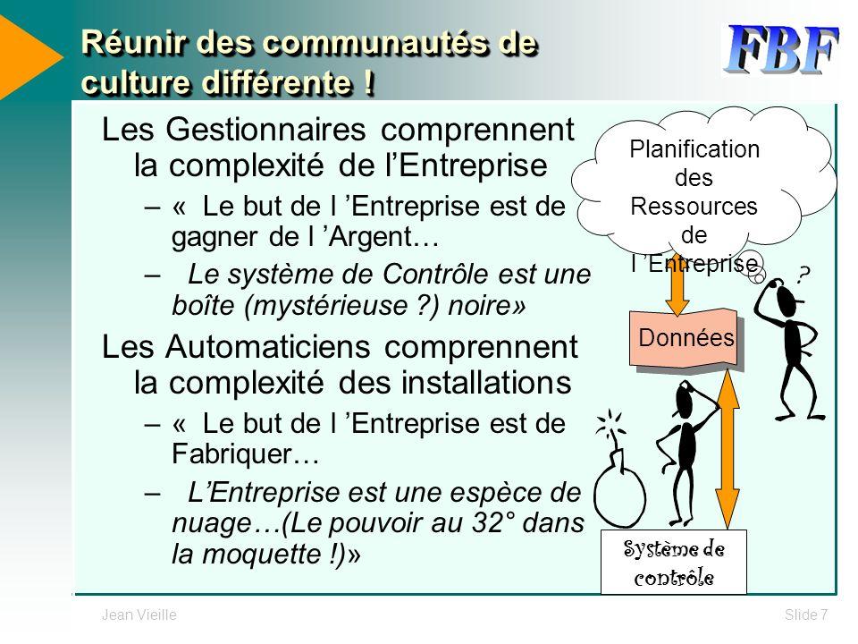 Jean VieilleSlide 7 Réunir des communautés de culture différente ! Les Gestionnaires comprennent la complexité de lEntreprise –« Le but de l Entrepris